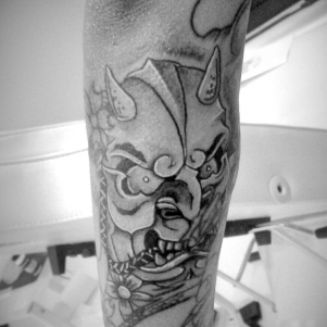 Japanese hanya mask tattoo